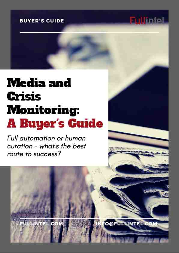 Buyers Guide on Media Monitoring